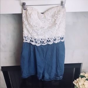 Toxik 3 Crochet Lace and Denim Romper